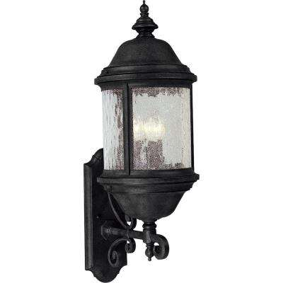 Ashmore Collection 3-Light Outdoor Textured Black Wall Lantern Sconce