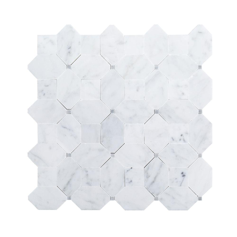 Jeff Lewis Hillcrest White 9.875 in. x 9.875 in. x 10 mm Marble Mosaic Floor and Wall Tile