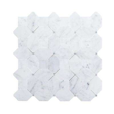 Hillcrest White 9.875 in. x 9.875 in. x 10 mm Geometric Marble Wall and Floor Mosaic Tile