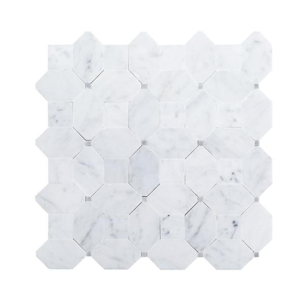 Hillcrest White 9.875 in. x 9.875 in. Geometric Mixed Marble Wall and Floor Mosaic Tile (0.677 sq. ft./Each)