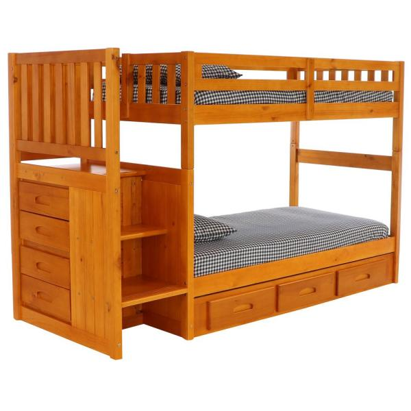 American Furniture Classics Honey Twin Over Twin Staircase Bunk Bed With 7 Drawers 2114 Tth The Home Depot
