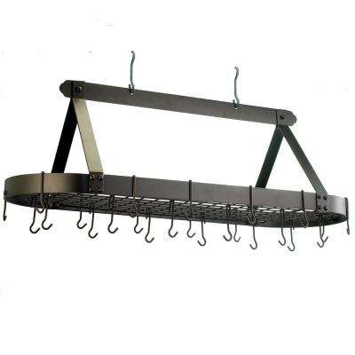 15.5 in. x 19 in. x 48 in. Oval Oiled Bronze Pot Rack with 24 Hooks