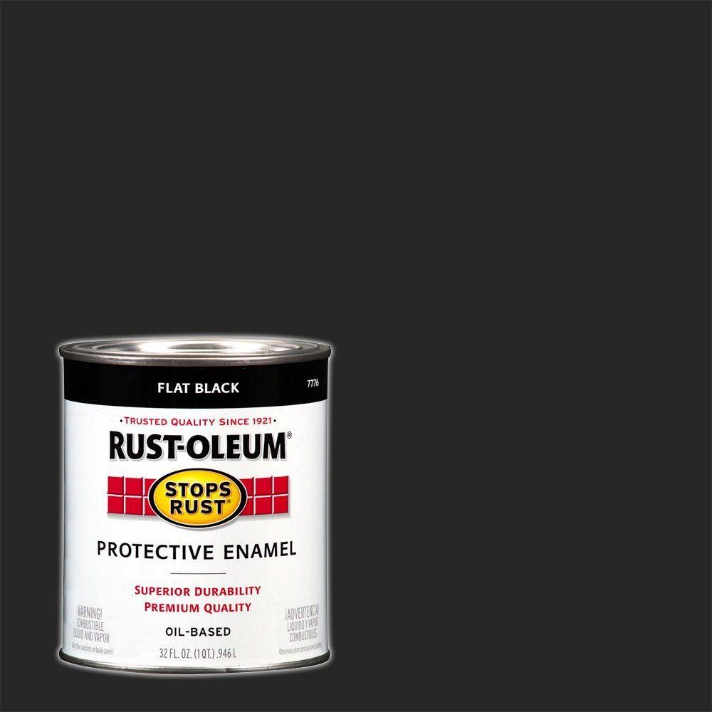 1 qt. Protective Enamel Flat Black Interior/Exterior Paint