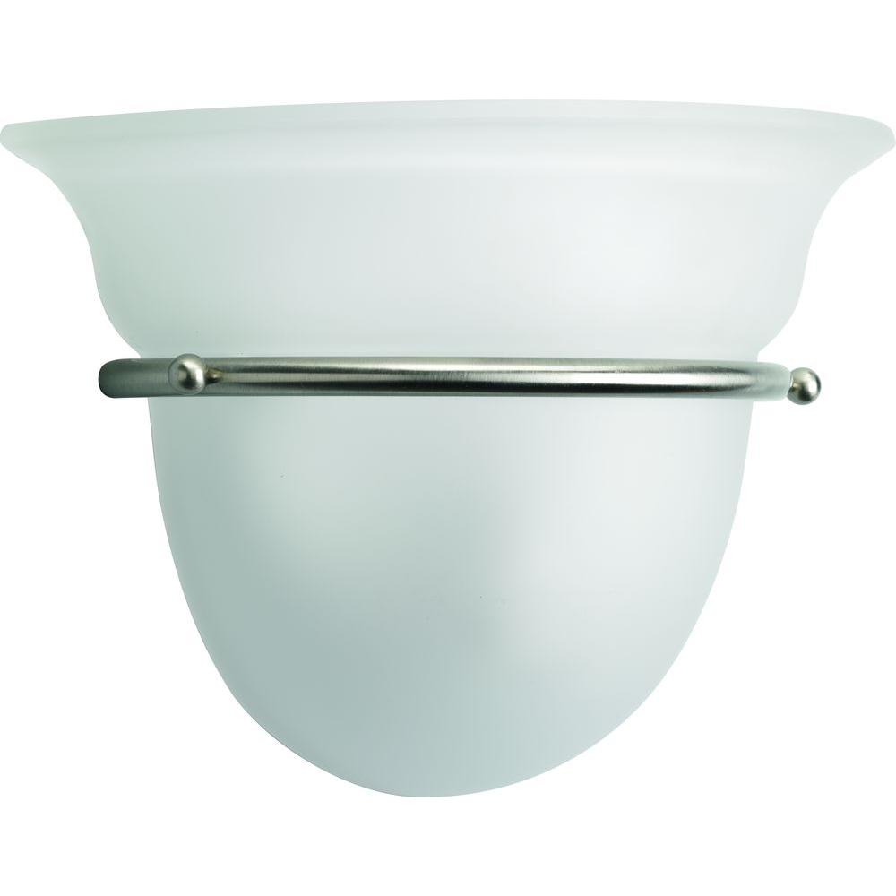 Progress Lighting Torino Collection 1 Light Brushed Nickel Wall Sconce With Etched Glass P7181 09
