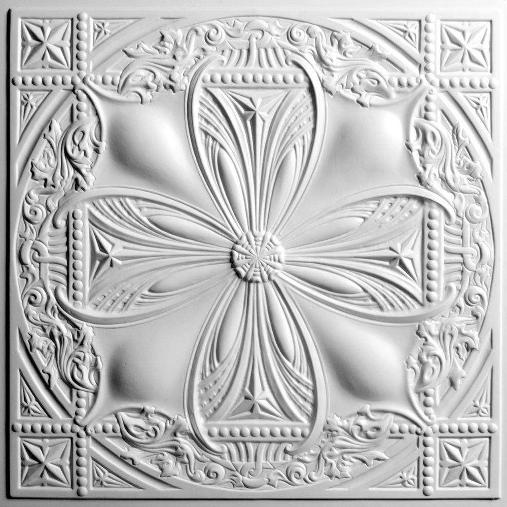 Ceilume Avalon White 2 ft. x 2 ft. Lay-in or Glue-up Ceiling Panel (Case of 6)