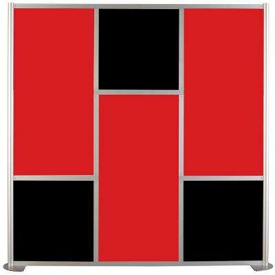 75-5/8 in. x 75-3/8 in. uDivide Red and Black 6-Panel Room Divider