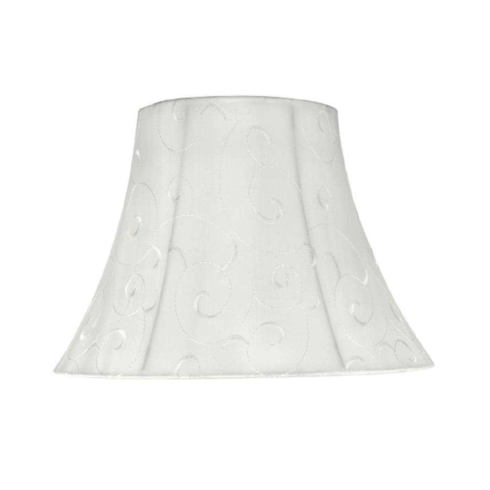 13 in. x 9.5 in. Beige and Embroidered Design Bell Lamp