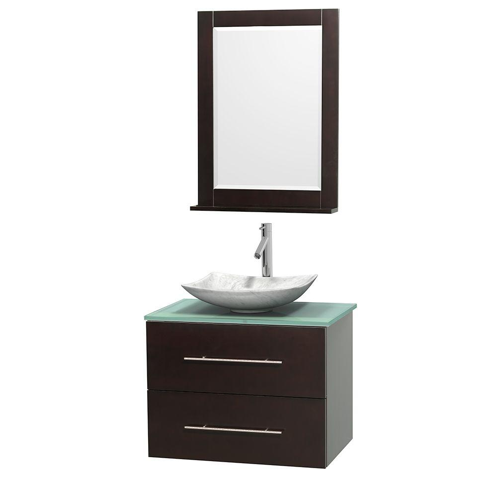 Wyndham Collection Centra 30 in. Vanity in Espresso with Glass Vanity Top in Green, Carrara White Marble Sink and 24 in. Mirror