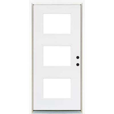 36 in. x 80 in. Smooth White Left-Hand Inswing 3-Lite Low-E Finished Fiberglass Prehung Front Door