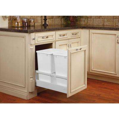 19 in. H x 15.5 in. W x 22.41 in. D Double 35 Qt. White Pull-Out Wood Bottom Mount Waste Container for Opening