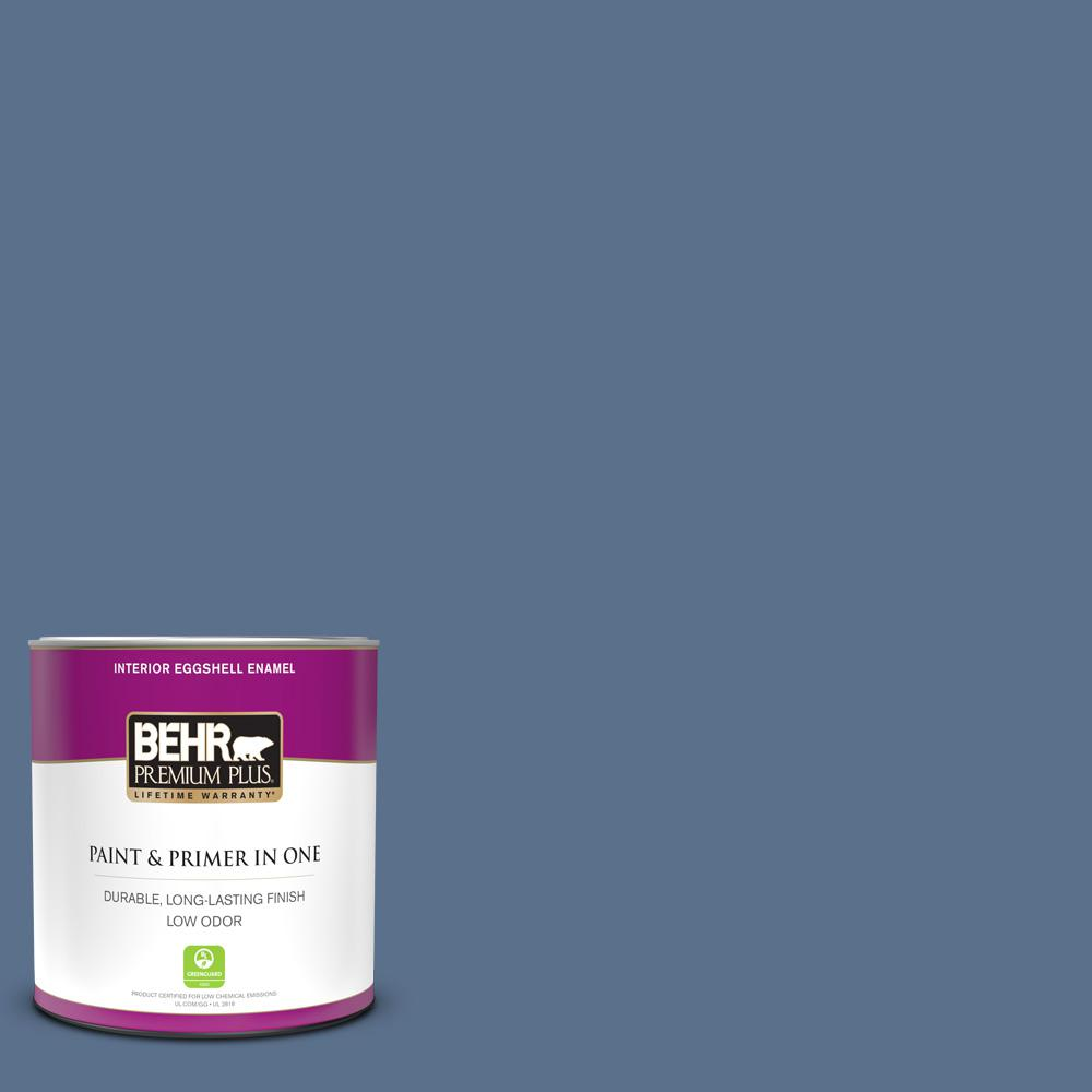 Behr Premium Plus 1 Qt 600f 6 Atlantic Blue Eggshell Enamel Low Odor Interior Paint And Primer In One 230004 The Home Depot