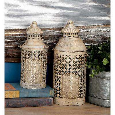 Rusted White Iron Candle Lantern with Cutouts (Set of 2)