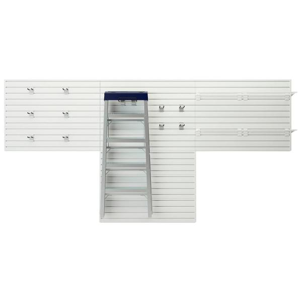 Modular Garage Wall Panel Storage Set with Accessories in White (15-Piece)