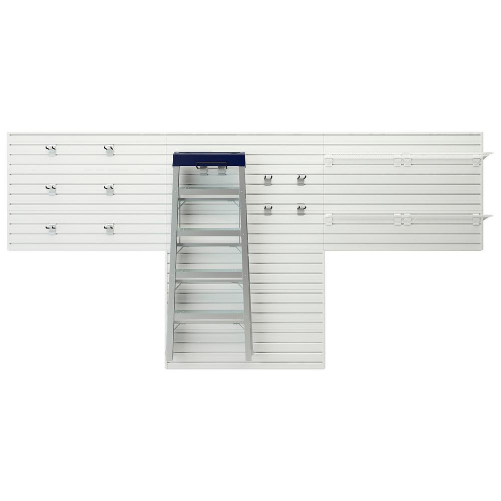Flow Wall Modular Garage Wall Panel Storage Set with Accessories in White (15-Piece)