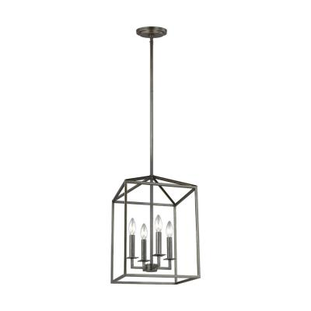 Perryton 4-Light Heirloom Bronze Lantern Pendant with Dimmable Candelabra LED Bulbs