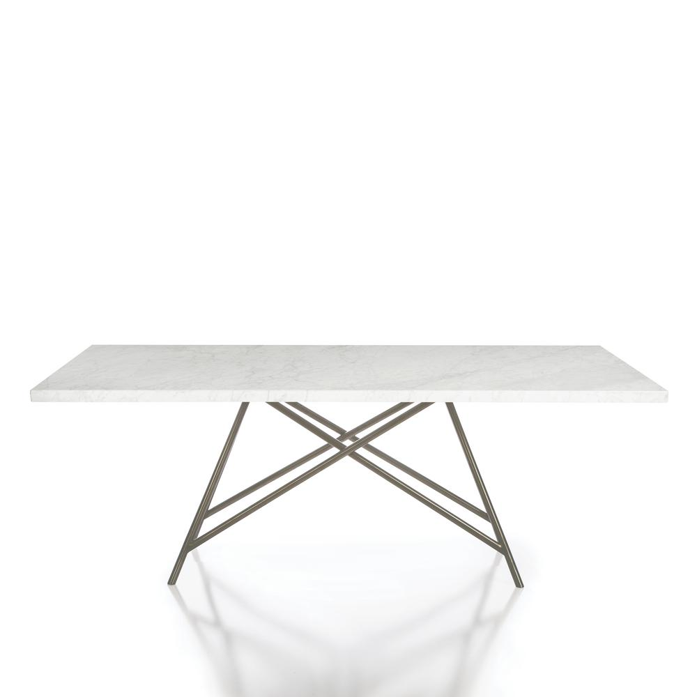 Coral Natural Carrara Marble Brushed Stainless Steel Base Dining Table