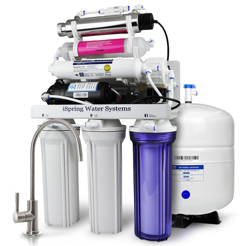 iSpring 7-Stage 100 GPD Under-Sink Reverse Osmosis Drinki...