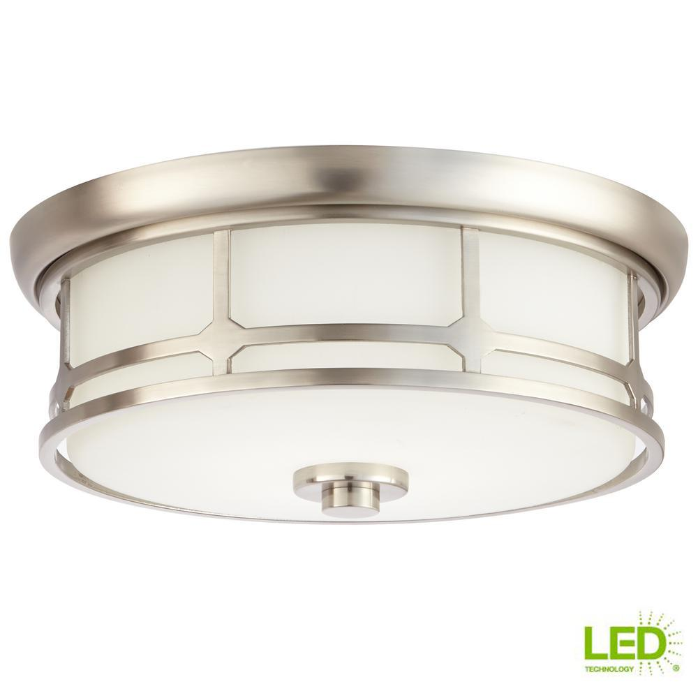 14 in. 75-Watt Equivalent Brushed Nickel Integrated LED Flushmount with Frosted