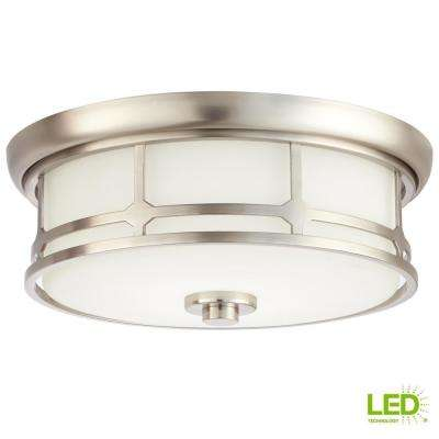 14 in. 75-Watt Equivalent Brushed Nickel Integrated LED Flush Mount with Frosted White Glass Shade