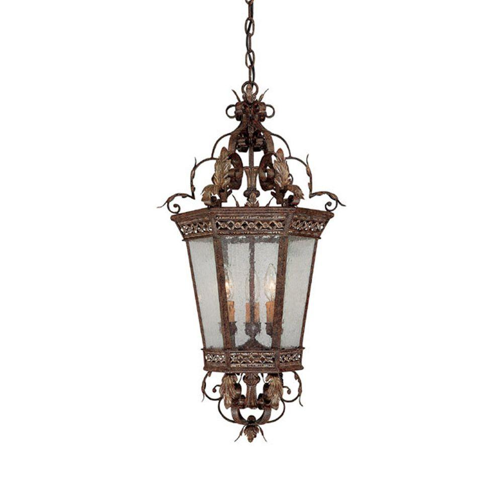 Filament Design 3-Light Dark Spice Seeded Glass Foyer Pendant-DISCONTINUED