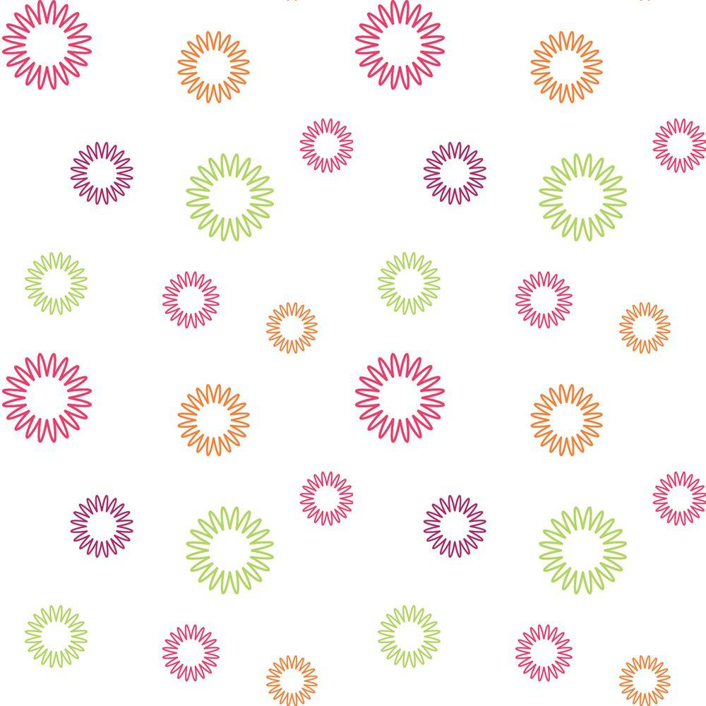 Disney 56 sq. ft. Brightly Colored Funky Spirals Wallpaper-DISCONTINUED