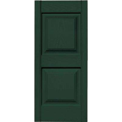 15 in. x 35 in. Raised Panel Vinyl Exterior Shutters Pair in #122 Midnight Green