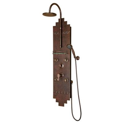 Navajo 4-Jet Shower System with Hammered Copper Panel in Oil-Rubbed Bronze