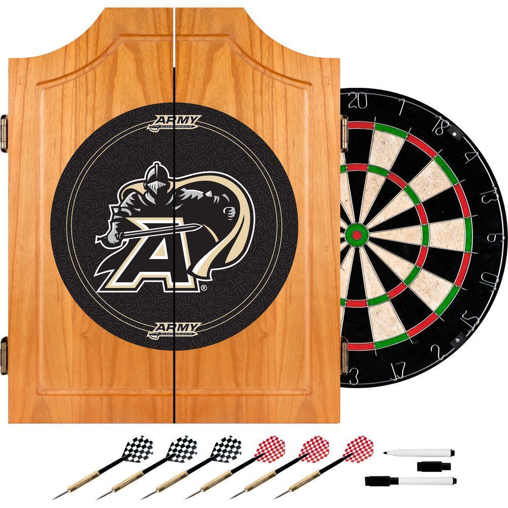 Army Black Knights Wood Finish Dart Cabinet Set