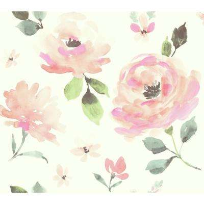 60.75 sq. ft. Young at Heart Watercolor Blooms Wallpaper