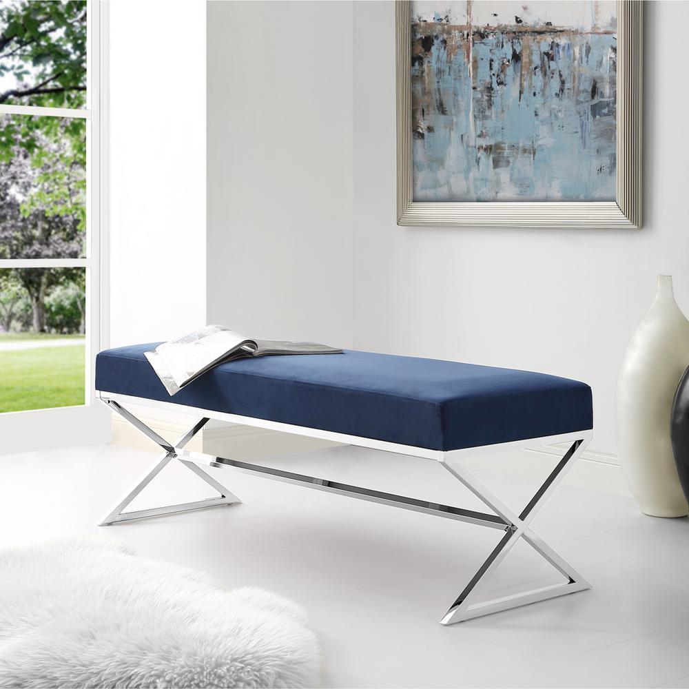 Inspired Home Elora Metal X-Leg Navy/Chrome Velvet Bench BH67-02NY-HD