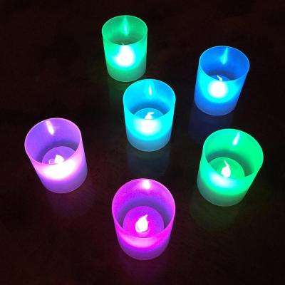 Flamess Votive Candles 2.25 in. Color Changing Plastic Frosted Holders ( 6 Count)