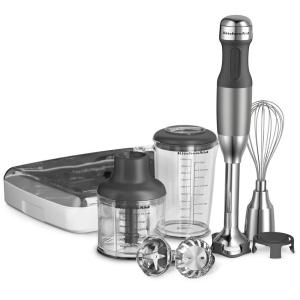 Kitchenaid 5 Speed Silver Immersion Blender With Whisk And