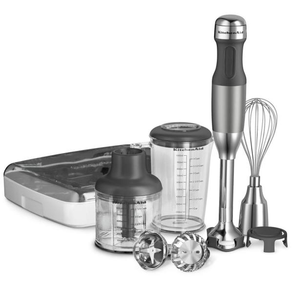 5-Speed Silver Immersion Blender with Whisk and Chopper Attachments