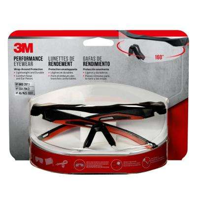 Accent Frame and Clear Anti-Fog Lens Black Performance Safety Eyewear Glasses with Aerodynamic Design