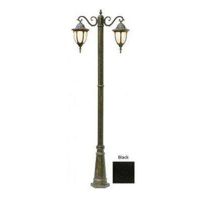 Cabernet Collection 2 Light 93 in. Outdoor Black Pole Lantern with White Opal Shade