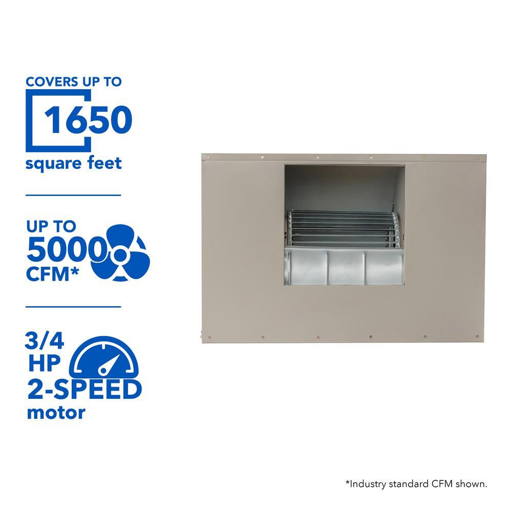 5000 CFM 240-Volt 2-Speed Side-Draft Wall/Roof 12 in. Media Evaporative Cooler