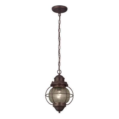 1-Light Oil Rubbed Bronze Outdoor Pendant light with Seeded Glass Shade