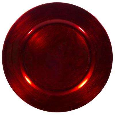 Home Essentials & Beyond 13 in. 4-Piece Classic Red Plate Charger Set