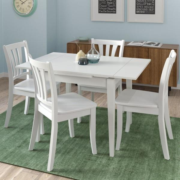 White Wood Dining Set: CorLiving Dillon 5-Piece Extendable White Wooden Dining