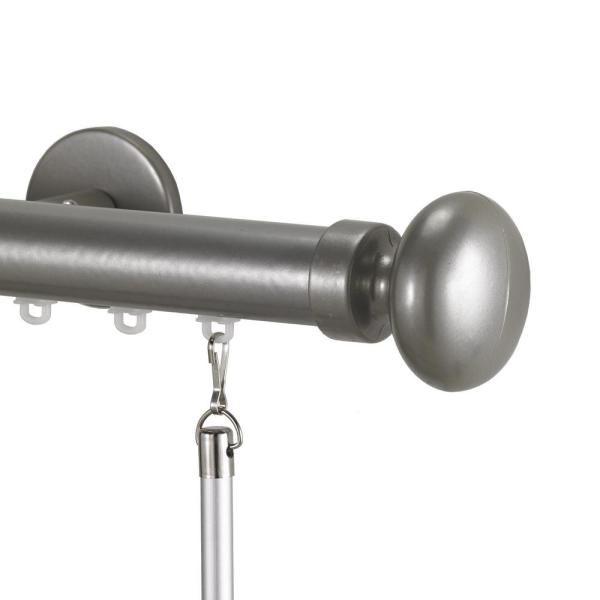 Tekno 25 84 in. Non-Adjustable 1-1/8 in. Single Traverse Window Curtain Rod Set in Antique Silver with Oval Finial