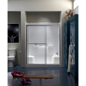 Sterling Standard 59 inch x 65 inch Framed Sliding Shower Door in Silver with Handle by STERLING