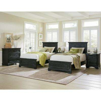 Farmhouse Basics Double Twin Bedroom Set With 2 Twin Beds, 2 Nightstands  And 1 Chest