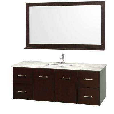 Centra 60 in. Vanity in Espresso with Marble Vanity Top in Carrara White and Under-Mount Sink