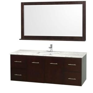 Wyndham Collection Centra 60 inch Vanity in Espresso with Marble Vanity Top in... by Wyndham Collection