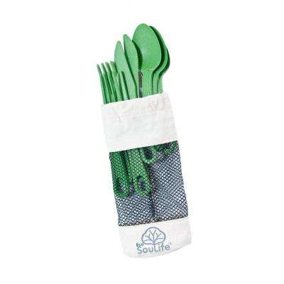 Bamboo 12-Piece Green Cutlery (2-Pack)