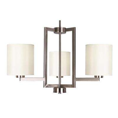 3-Light Satin Steel Chandelier with Creme Silk Fabric Shade