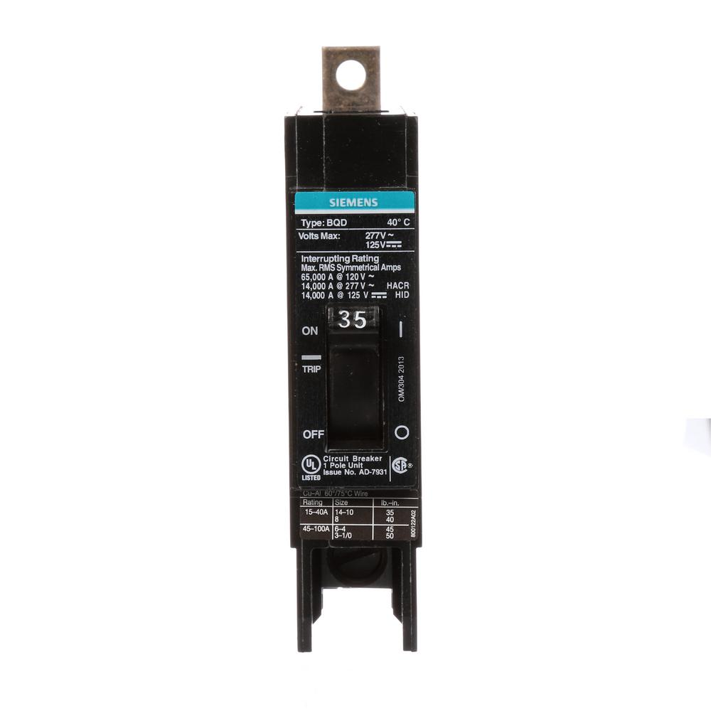 Siemens 10 amp single pole type qp circuit breaker q110 the home depot 35 amp single pole type bqd bolt on circuit breaker greentooth Image collections