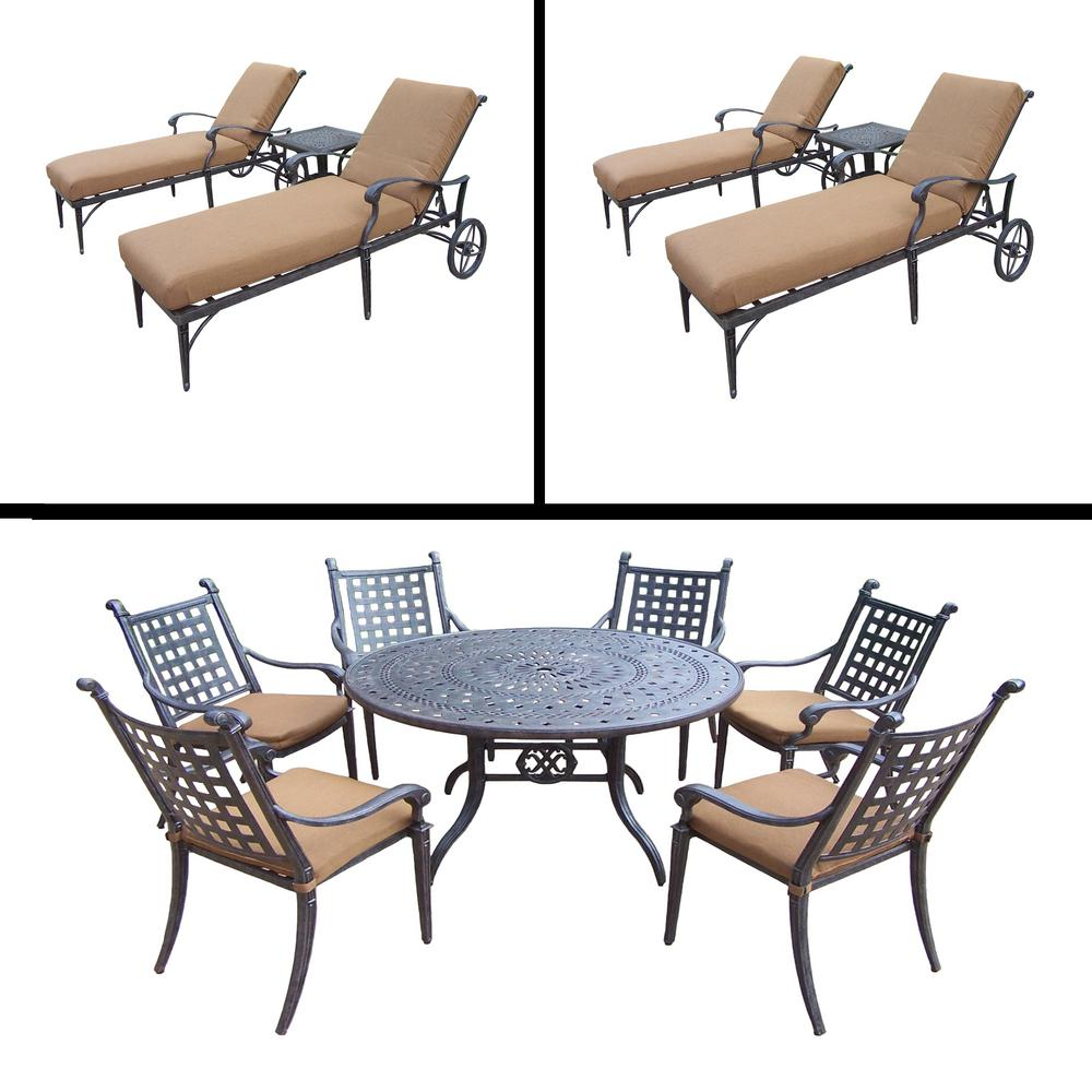 Phenomenal Belmont Premier 13 Piece Aluminum Outdoor Dining Set With Sunbrella Brown Cushions Andrewgaddart Wooden Chair Designs For Living Room Andrewgaddartcom