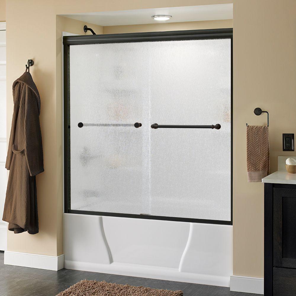 Silverton 60 in. x 58-1/8 in. Semi-Frameless Sliding Bathtub Door in Bronze with Rain Glass