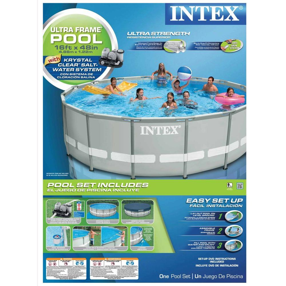 Intex 16 ft. x 48 in. Ultra Frame Pool Set with 1,200 Gal. Filter Pump and Saltwater System
